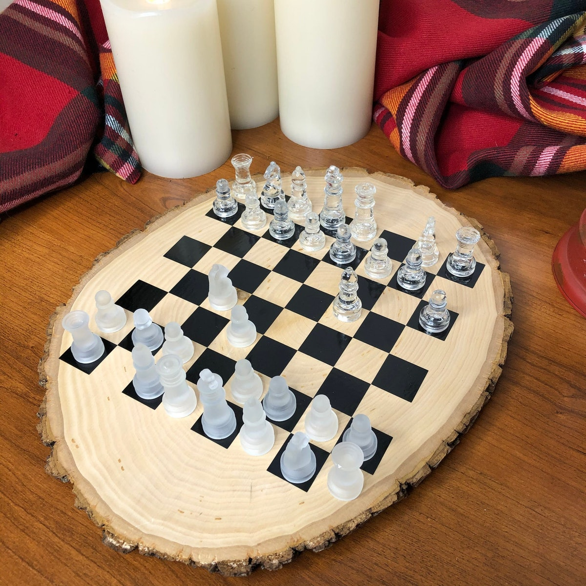 Chess Game Board Set Rustic