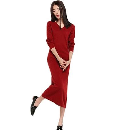 RanRui Cashmere Long Sleeve Ankle Length Sweater Dress