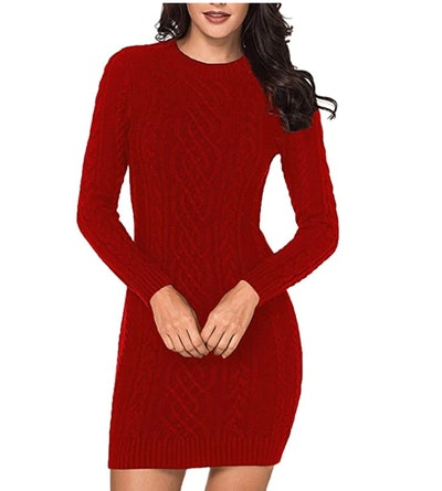 LaSuiveur Cable Knit Long Sleeve Sweater Dress