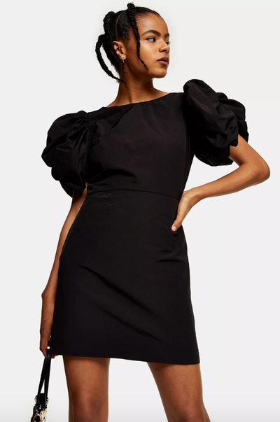 Black Stretch Puff Sleeve Mini Dress