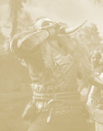 an image from Assassin's Creed: Valhalla that shows a character drinking
