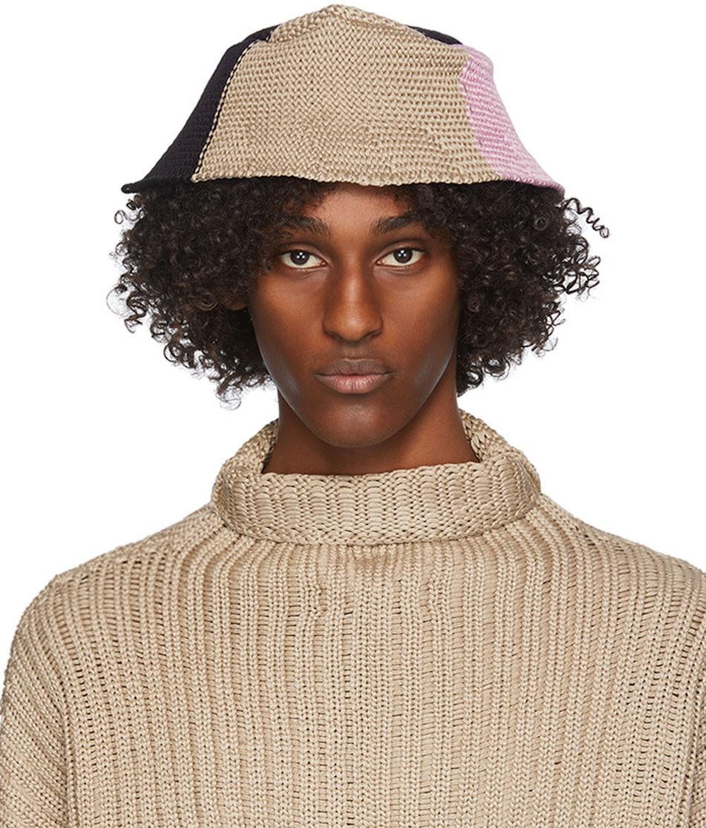 Beige & Pink Horizon Bucket Hat