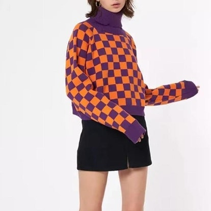 404TimelessWardrobe Vintage Checkerboard Turtleneck Knit