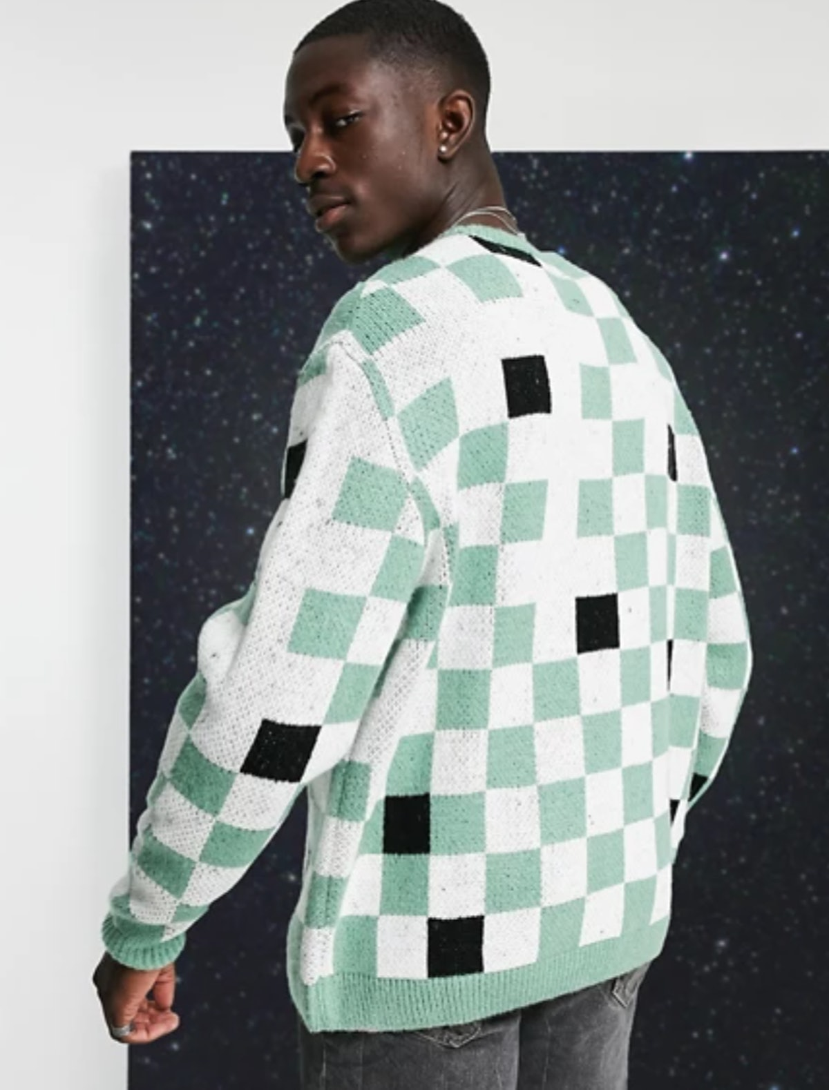 ASOS DESIGN Oversized Checkerboard Sweater in Mint Green