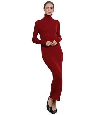 RanRui Turtleneck Cashmere Sweater Dress