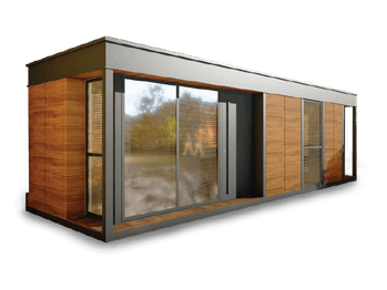 The Nestron tiny home, Legend Two X, can be seen in front of a plain background. The smart house is wooden with large and broad windows.