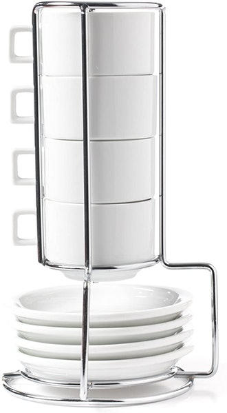 HUJI Stack-able Porcelain Espresso Cups and Saucer Set with Chrome Rack (9-Piece Set)