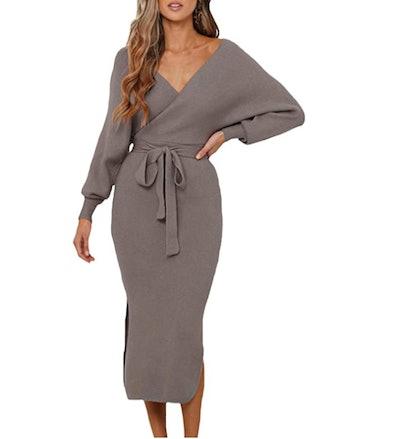 Fixmatti Elegant V Neck Wrap Knit Dress