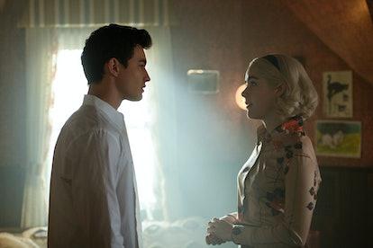 KIERNAN SHIPKA as SABRINA and GAVIN LEATHERWOOD as NICK, via Netflix press site.