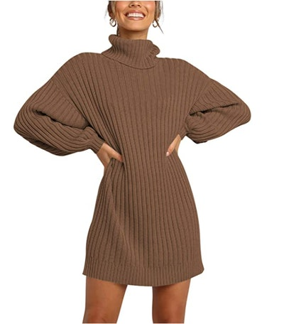 ANRABESS Turtleneck Oversized Sweater Dress