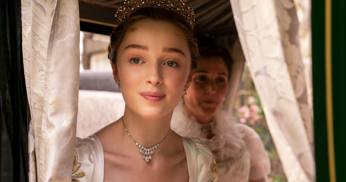 Daphne Bridgerton looks out her carriage in 'Bridgerton' on Netflix.