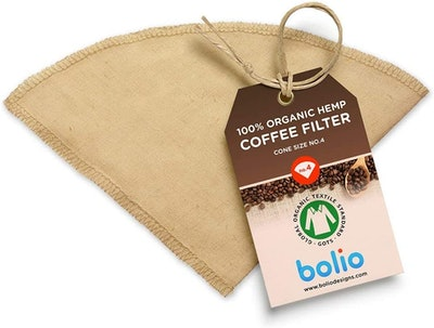 Bolio Organic Hemp Reusable Cone Coffee Filter