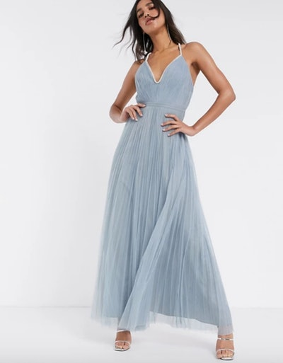 Embellished Trim Plunge Maxi Dress in Dusty Blue