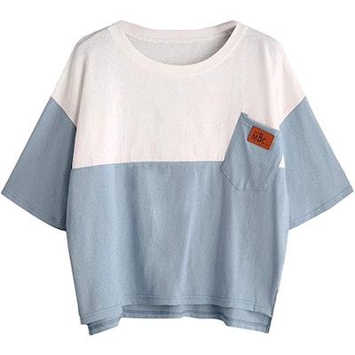SweatyRocks Color Block Half Sleeve Loose T-Shirt