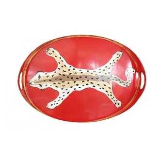 Orange Leopard Oval Tray