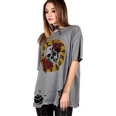 Romwe Oversized Print Raw Hem Tee Shirt