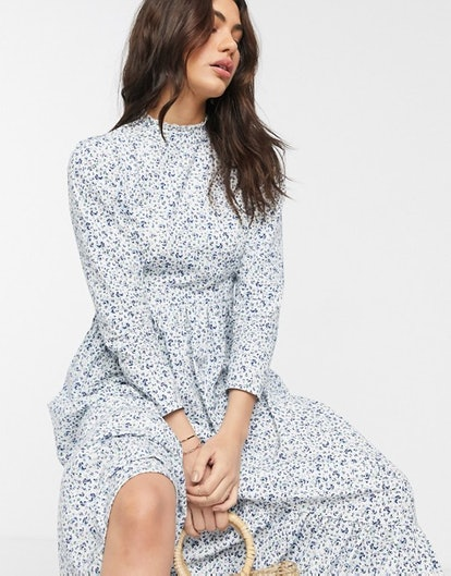 ASOS Design Cotton Poplin Tiered Maxi Dress in Ditsy Floral Print