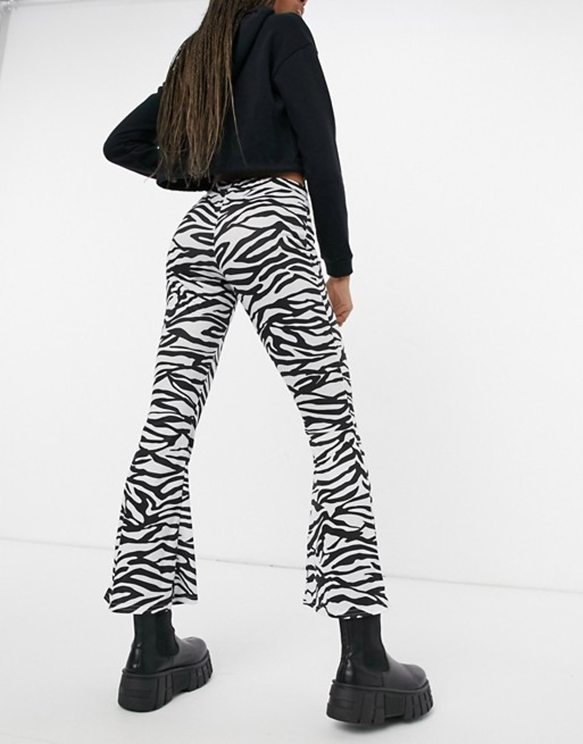 Another Reason High Waisted Flare Pants in Monogram Zebra