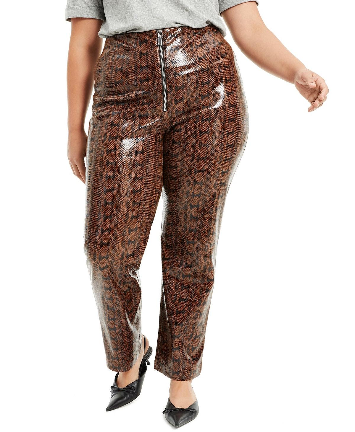 Danielle Bernstein Plus Size Faux-Snakeskin Pants