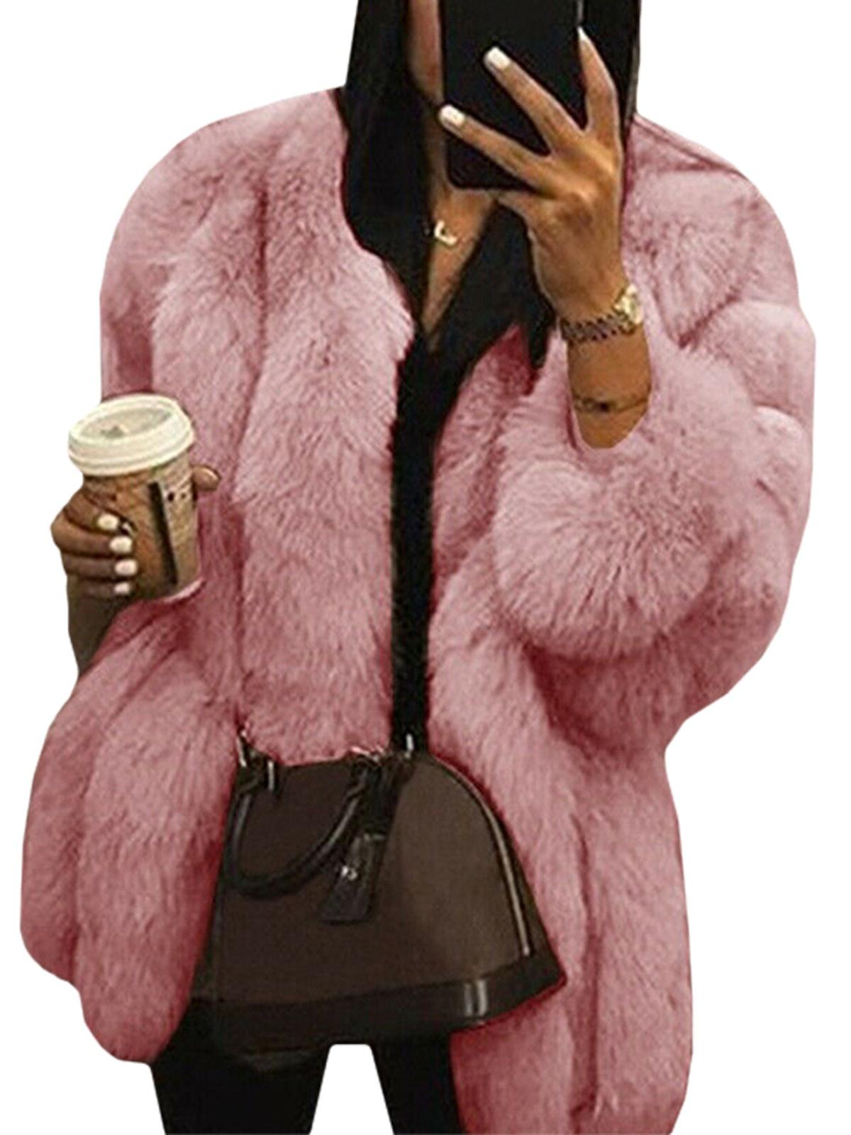 Wodstyle Women's Faux Fur Jacket Coat Winter Warm Thick Party Fluffy Tops Plus Size