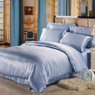 LilySilk 4-Piece Silk Bed Sheet Set