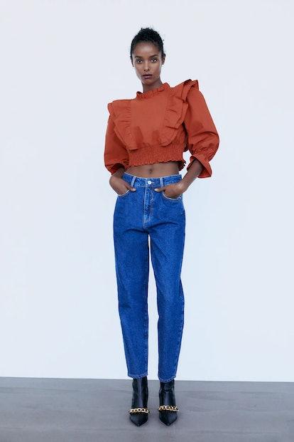 Zara Ruffled Poplin Shirt