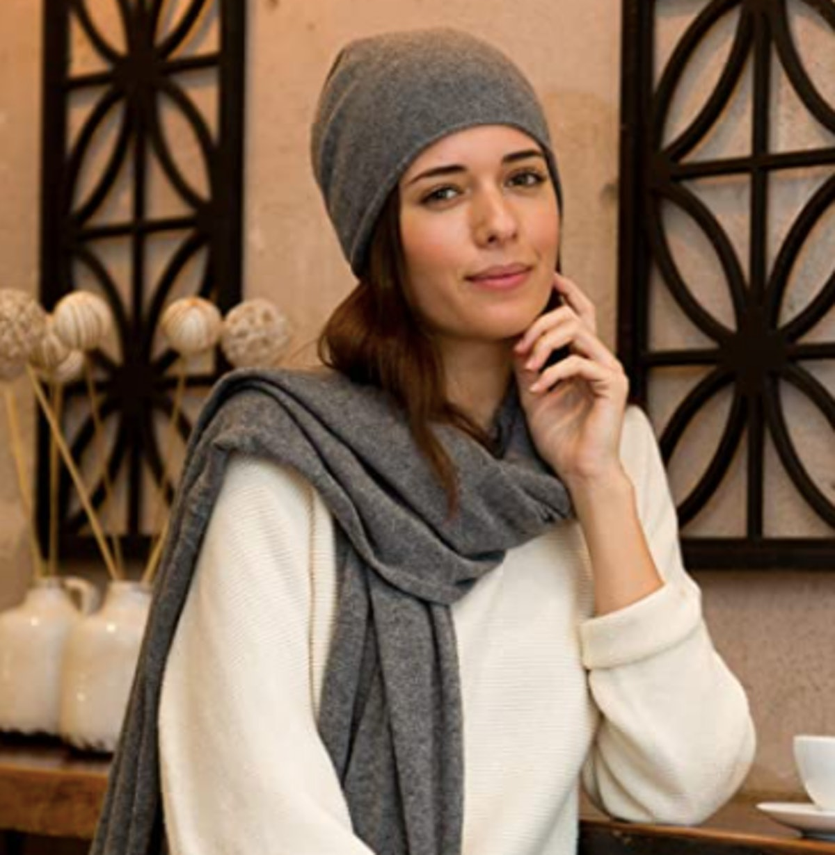 Fishers Finery Cashmere Slouchy Beanie