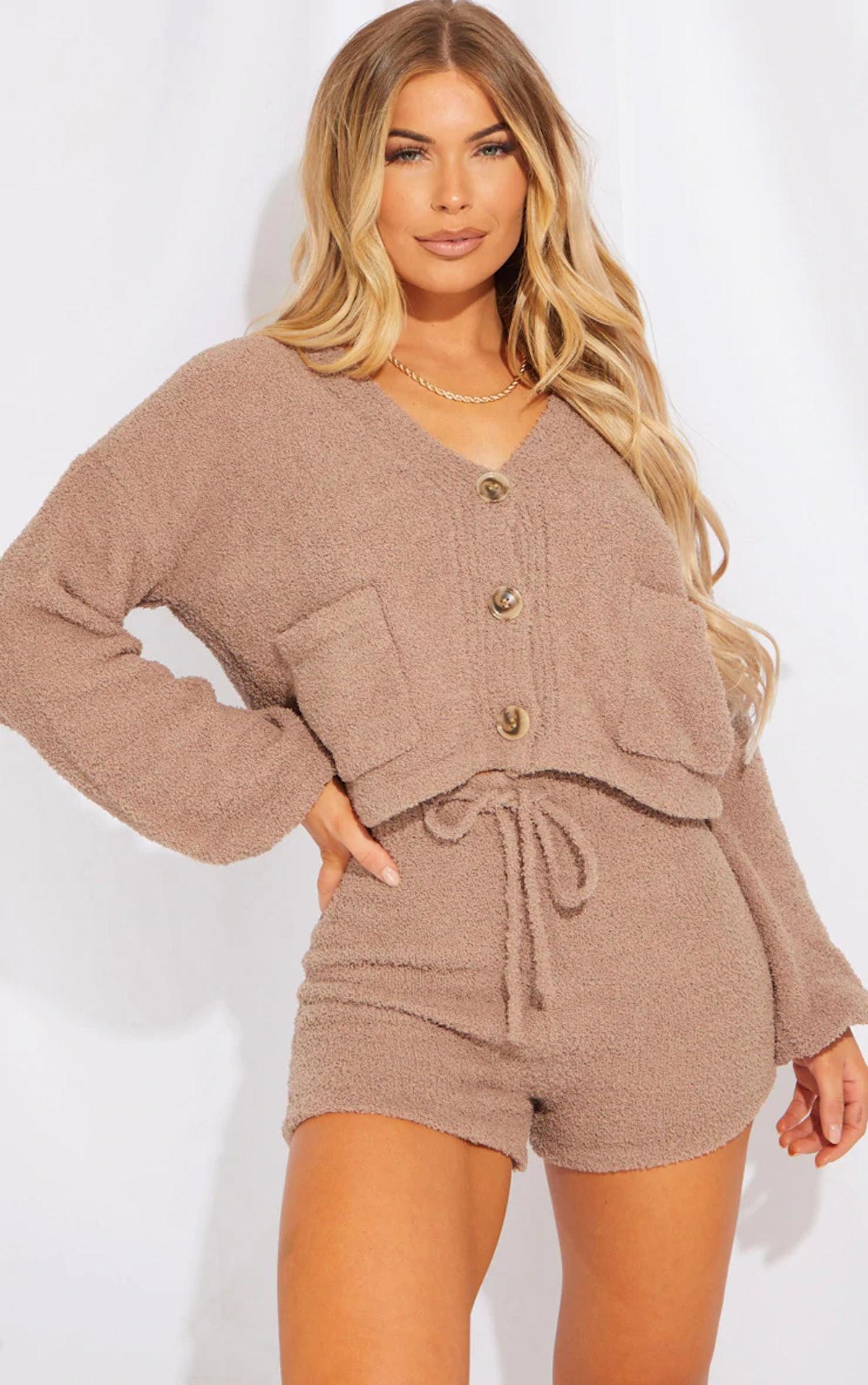PrettyLittleThing Brown Premium Fluffy Knit Cardigan Shorts Lounge Set