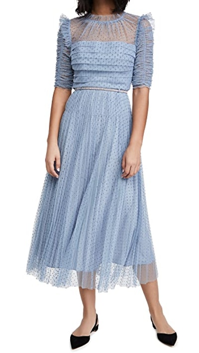 Dot Mesh Trim Midi Dress