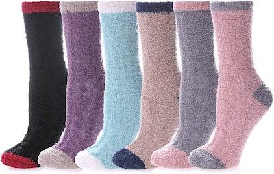 LANLEO Fuzzy Slipper Socks (6 Pairs)