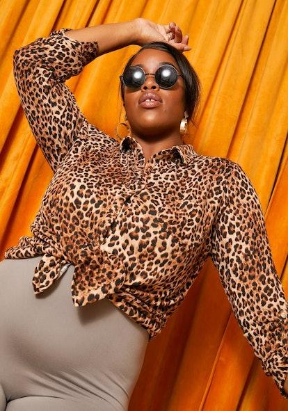 Asoph Plus Size Wild Leopard Womens Collar Blouse