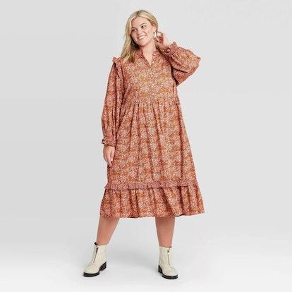 Universal Thread Women's Balloon Long Sleeve Ruffle Dress