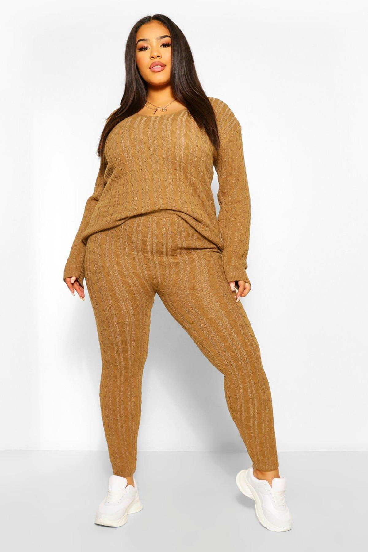 Boohoo Plus Cable Knit V Neck Knitted Two-Piece