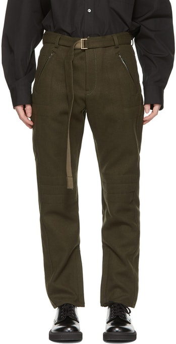 Sacai Khaki Wool Belted Trousers