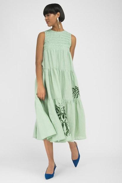 SIMENA Mint Green Linen Midi Dress