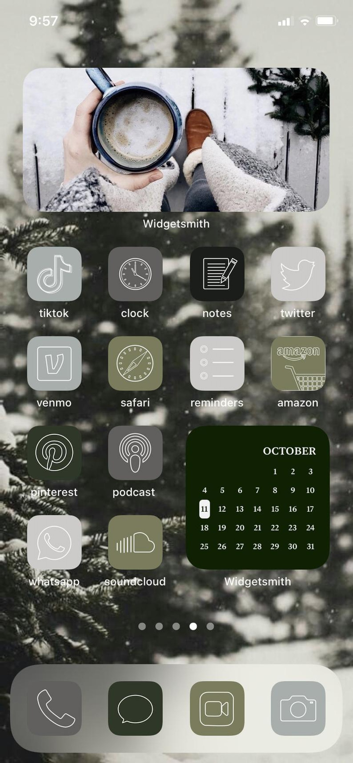 Subdued Winter iOS 14 Home Screen Design