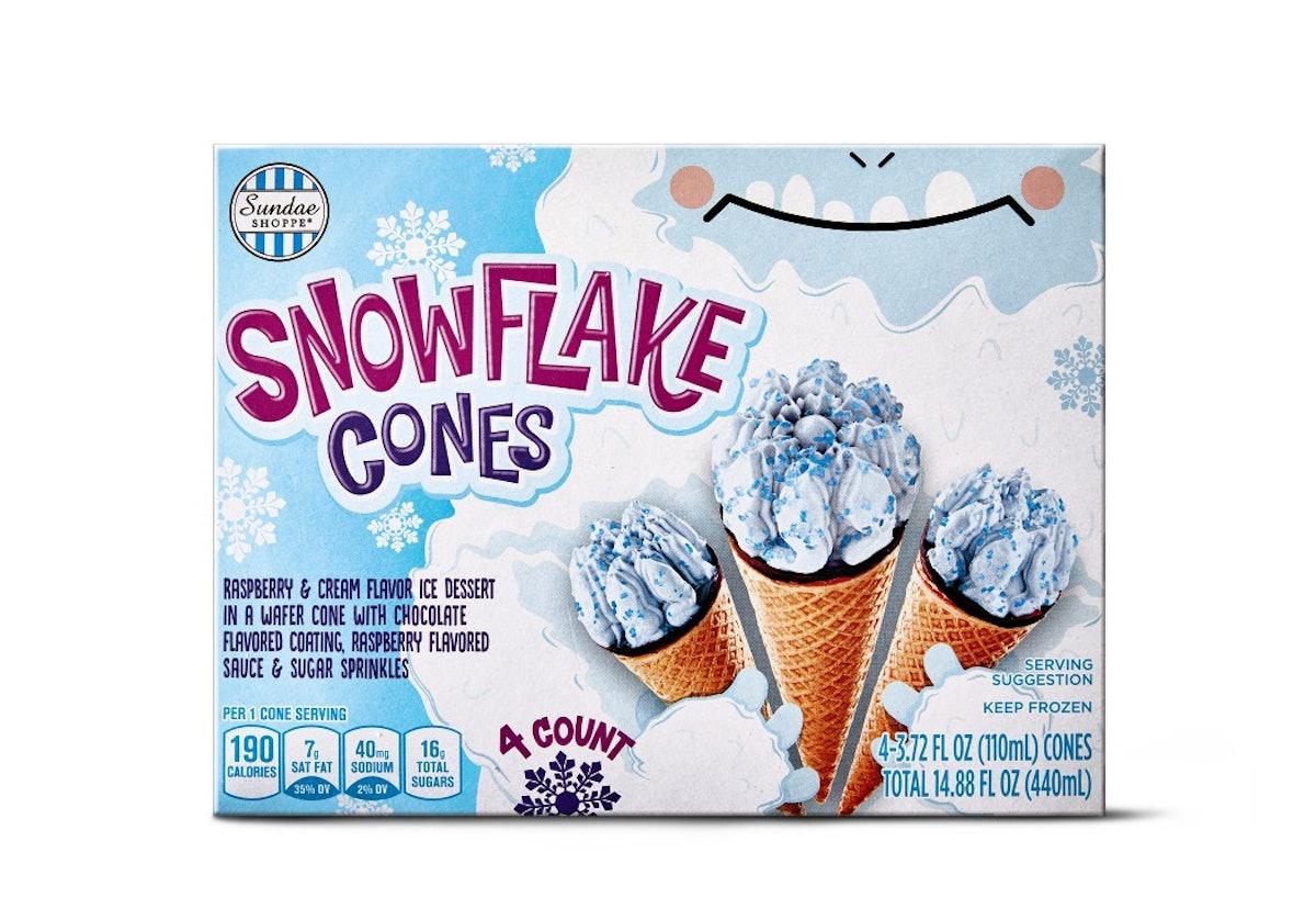 Aldi's December 2020 holiday finds feature cute Snowflake Cone ice creams.