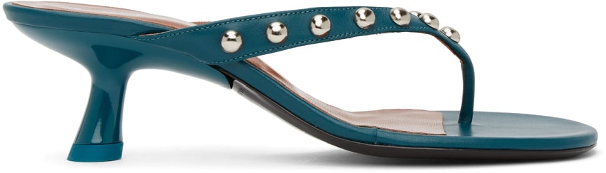 Blue Beep Thong Heeled Sandals