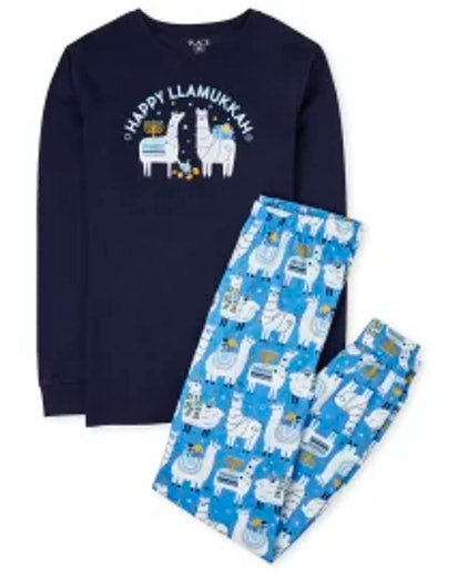 Children's Place Unisex Adult Matching Family Hanukkah Llama Cotton Pajamas