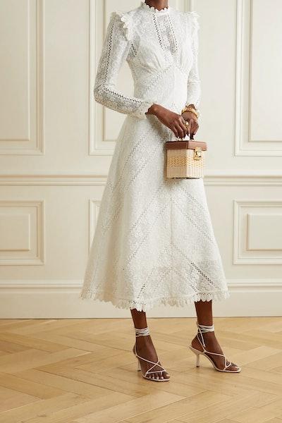 Brighton paneled cotton-blend lace midi dress