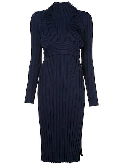 Navy Ribbed Knit Midi Dress