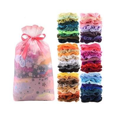 SEVEN STYLE Velvet Hair Scrunchies (60 Piece)
