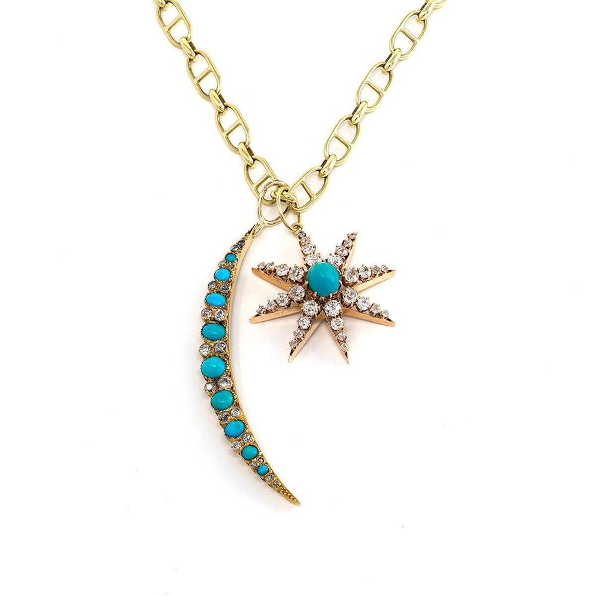 Victorian Turquoise & Diamond Crescent Moon