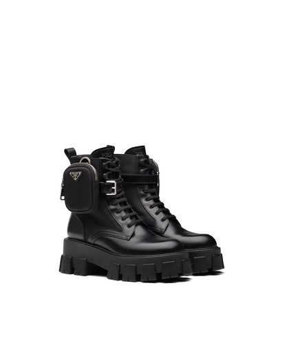 Brushed Rois leather and nylon Monolith boots