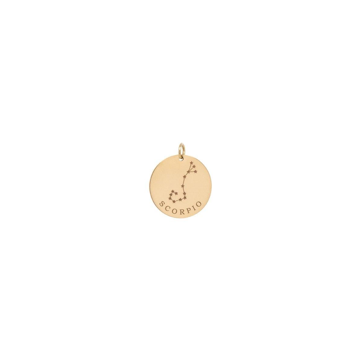 14K Single Gold Constellation & Zodiac Medium Disc Charm Pendant