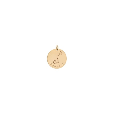14K Single Gold Constellation & Zodiac Medium Disc Charm Pendant