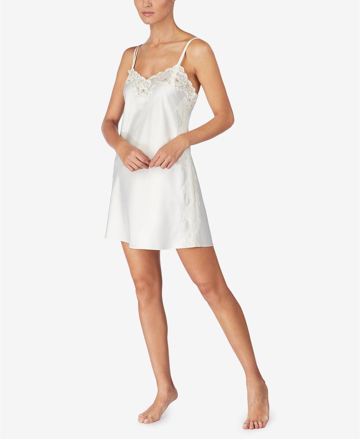 Lauren Ralph Lauren Flower-Lace Trim Chemise Nightgown
