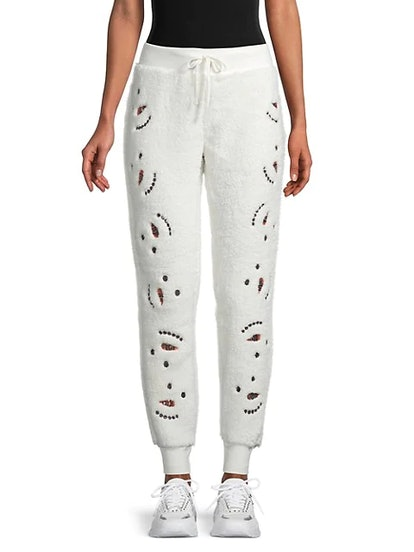 Miss Chievous Faux Shearling Sequin Snowman Joggers