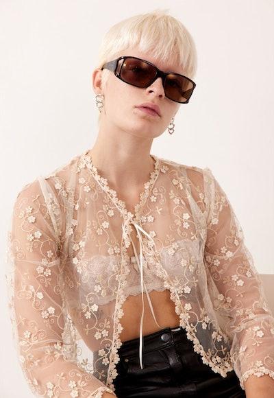 Vintage rare cream Italian lace top