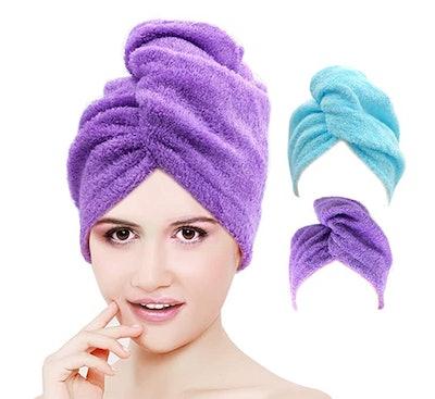 CORVYUC Bamboo Hair Towel (2-Pack)